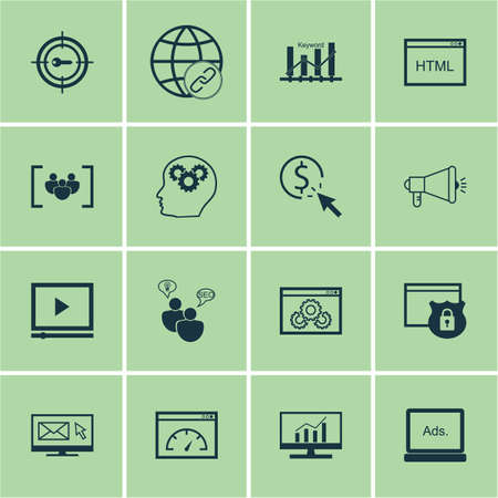 Set Of SEO Icons On Keyword Marketing, Security And Website Performance Topics. Editable Vector Illustration. Includes Marketing, HTML, Web And More Vector Icons.