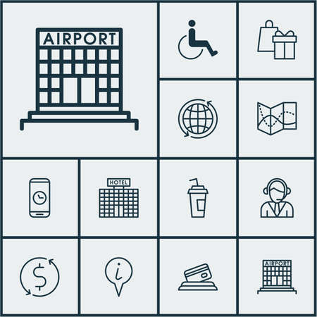 paralyzed: Set Of Traveling Icons On Accessibility, Airport Construction And Operator Topics. Editable Vector Illustration. Includes Construction, Paralyzed, Disabled And More Vector Icons. Illustration