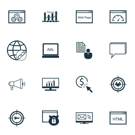 keyword research: Set Of Marketing Icons On Keyword Optimisation, Market Research And Keyword Marketing Topics. Editable Vector Illustration. Includes Speed, Website, Viral And More Vector Icons.