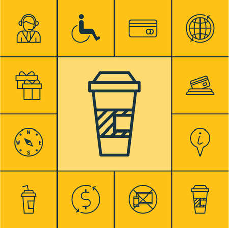 transact: Set Of Traveling Icons On Takeaway Coffee, Accessibility And Credit Card Topics. Editable Vector Illustration. Includes Credit, Map, Exchange And More Vector Icons.