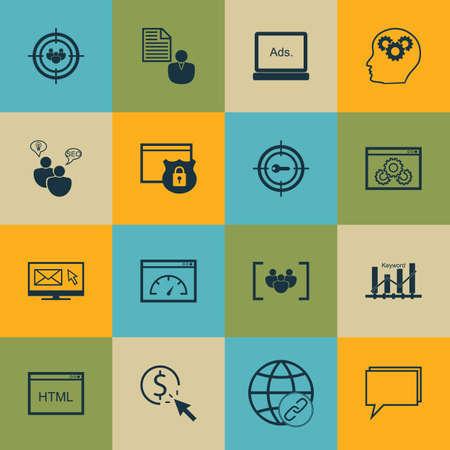 Set Of Publicité Icônes Le groupe de discussion, le bulletin et le rapport Sujets. Editable Vector Illustration. Comprend HTML, bref, Matching Et Plus icônes vectorielles.