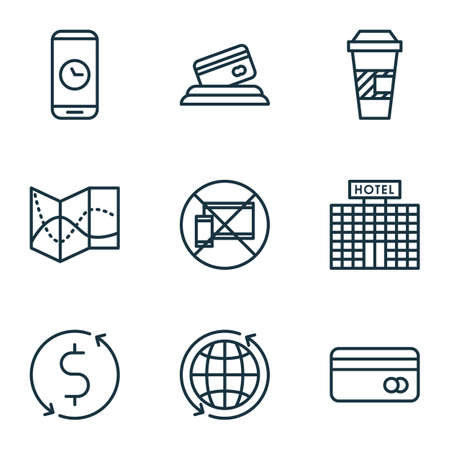 duration: Set Of Airport Icons On Takeaway Coffee, Credit Card And Call Duration Topics. Editable Vector Illustration. Includes Hotel, Map, Dollar And More Vector Icons. Illustration