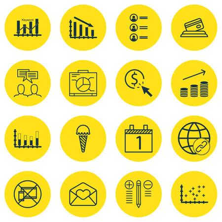 Ensemble de 16 icônes modifiables universelles. Peut être utilisé pour la conception Web, Mobile et App. Comprend des icônes telles que le graphique à barres segmenté, l'agenda, les demandes d'emploi, etc.
