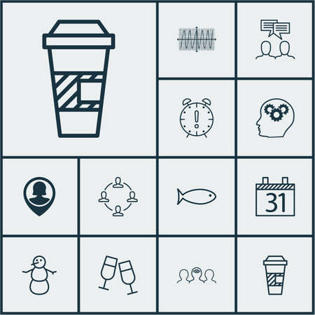 Set Of 12 Universal Editable Icons. Can Be Used For Web, Mobile And App Design. Includes Icons Such As Time Management, Champagne Glasses, Cosinus Diagram And More. Illustration