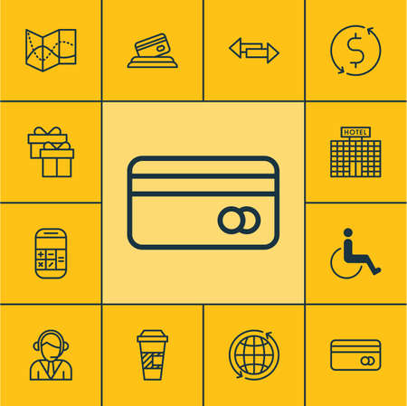 crossroad: Set Of Transportation Icons On Road Map, Credit Card And Crossroad Topics. Editable Vector Illustration. Includes Operator, Calculator, Gift And More Vector Icons. Illustration
