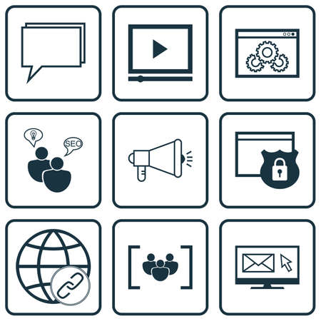 briefing: Set Of Advertising Icons On SEO Brainstorm, Newsletter And Video Player Topics. Editable Vector Illustration. Includes Newsletter, Group, Research And More Vector Icons.