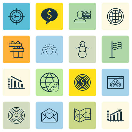 collaborative: Set Of 16 Universal Editable Icons. Can Be Used For Web, Mobile And App Design. Includes Icons Such As Website Performance, Profit Graph, Greeting Email And More.