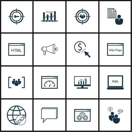 dynamic html: Set Of SEO Icons On Questionnaire, Website And Focus Group Topics. Editable Vector Illustration. Includes Performance, Link, Advertising And More Vector Icons. Illustration