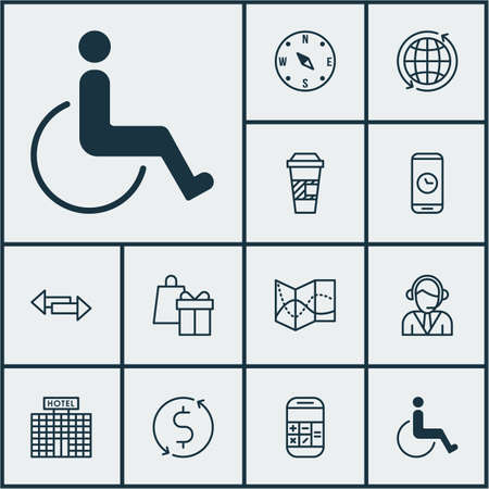 crossroad: Set Of Transportation Icons On Accessibility, Operator And Crossroad Topics. Editable Vector Illustration. Includes Crossroad, Math, Direction And More Vector Icons.