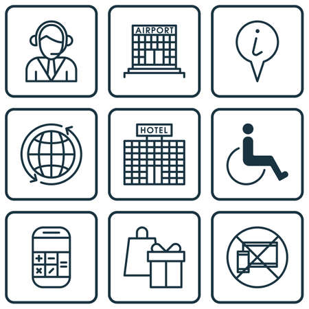 armchair shopping: Set Of Travel Icons On Shopping, Airport Construction And Hotel Construction Topics. Editable Vector Illustration. Includes Math, Around, Disabled And More Vector Icons.