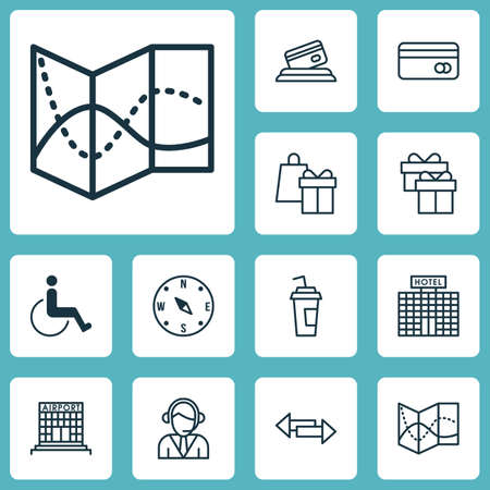 infirm: Set Of Travel Icons On Present, Airport Construction And Road Map Topics. Editable Vector Illustration. Includes Cup, Road, Present And More Vector Icons. Illustration