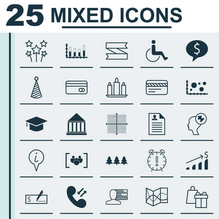 infirm: Set Of 25 Universal Editable Icons. Can Be Used For Web, Mobile And App Design. Includes Icons Such As Time Management, Segmented Bar Graph, Personal Skills And More. Illustration