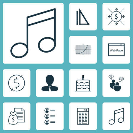 profile measurement: Set Of 12 Universal Editable Icons. Can Be Used For Web, Mobile And App Design. Includes Icons Such As Money, Crotchets, Manager And More.