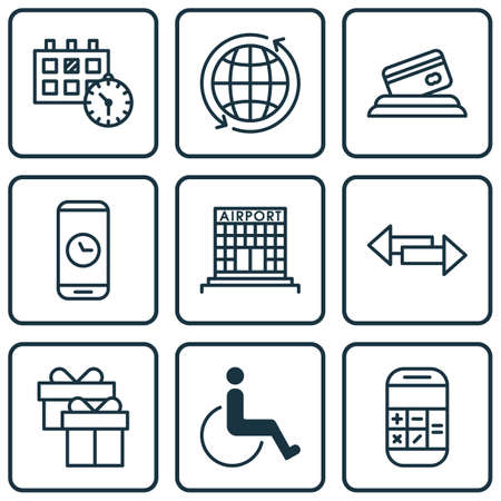 Set Of Travel Icons On Airport Construction, Call Duration And World Topics. Editable Vector Illustration. Includes Direction, Disabled, Construction And More Vector Icons.