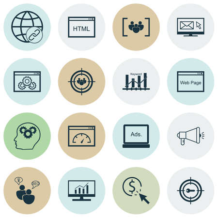 Set Of Marketing Icons On Digital Media, Media Campaign And Questionnaire Topics. Editable Vector Illustration. Includes Comprehensive, Keyword, Pay And More Vector Icons.