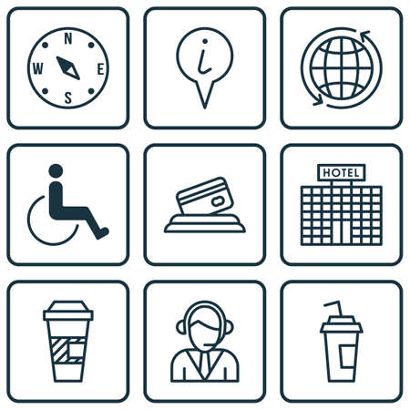 paralyzed: Set Of Airport Icons On Credit Card, Drink Cup And Takeaway Coffee Topics. Editable Vector Illustration. Includes Globe, Card, Paralyzed And More Vector Icons. Illustration