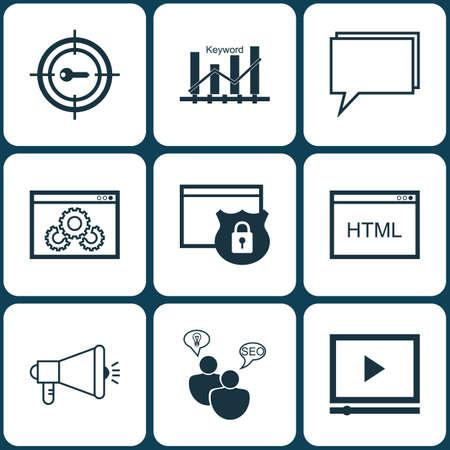 Conjunto de iconos de marketing en el rendimiento del sitio web, conferencia y temas de optimización de palabras clave. Ilustración vectorial editable. Incluye clasificación, comunidad, protegido y más iconos de vectores.
