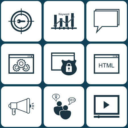 Set Of Marketing Icons On Website Performance, Conference And Keyword Optimisation Topics. Editable Vector Illustration. Includes Ranking, Community, Protected And More Vector Icons.