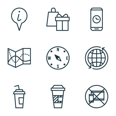 locate: Set Of Airport Icons On Drink Cup, World And Locate Topics. Editable Vector Illustration. Includes Cup, Gift, Locate And More Vector Icons.