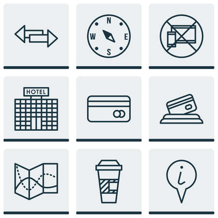 locate: Set Of Traveling Icons On Takeaway Coffee, Hotel Construction And Road Map Topics. Editable Vector Illustration. Includes Mobile, Crossroad, Locate And More Vector Icons.