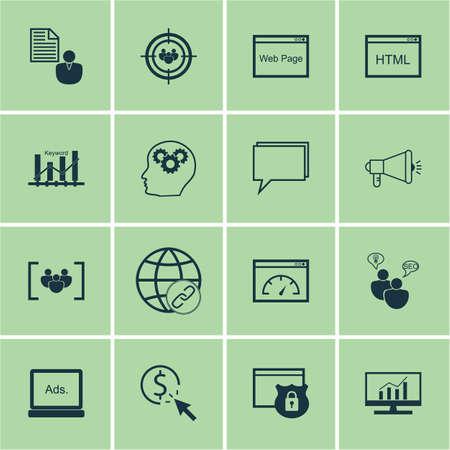 Ensemble d'icônes marketing sur le référencement Brainstorm, Codage et des sujets du groupe de discussion. Editable Vector Illustration. Comprend la publicité, la recherche, Link Et Plus icônes vectorielles.