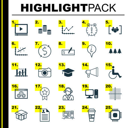 graduation countdown: Set Of 25 Universal Editable Icons. Can Be Used For Web, Mobile And App Design. Includes Icons Such As Operator, Analytics, Desktop Computer And More.