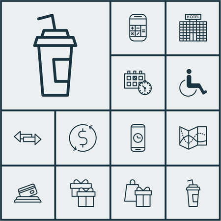 paralyzed: Set Of Travel Icons On Accessibility, Road Map And Calculation Topics. Editable Vector Illustration. Includes Direction, Drink, Paralyzed And More Vector Icons. Illustration