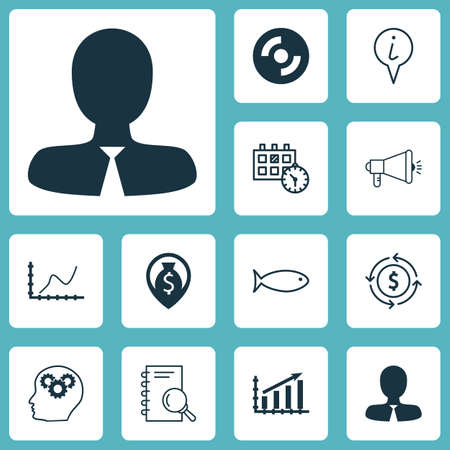 Set Of 12 Universal Editable Icons. Can Be Used For Web, Mobile And App Design. Includes Icons Such As Media Campaign, Blank Cd, Manager And More.