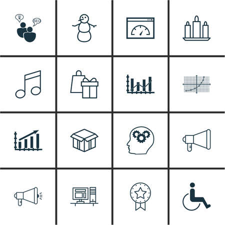 crotchets: Set Of 16 Universal Editable Icons. Can Be Used For Web, Mobile And App Design. Includes Icons Such As Loading Speed, Crotchets, Line Grid And More.