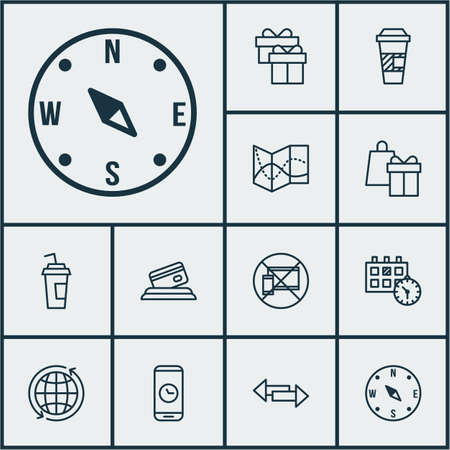 crossroad: Set Of Travel Icons On Takeaway Coffee, Crossroad And Forbidden Mobile Topics. Editable Vector Illustration. Includes Travel, Card, Shopping And More Vector Icons.
