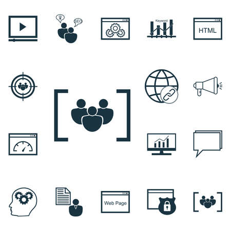 keyword research: Set Of Advertising Icons On Market Research, Questionnaire And Loading Speed Topics. Editable Vector Illustration. Includes Keyword, Group, Viral And More Vector Icons. Illustration
