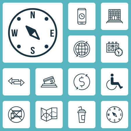 accessibility: Set Of Travel Icons On Appointment, Accessibility And Airport Construction Topics. Editable Vector Illustration. Includes Date, Direction, Around And More Vector Icons. Illustration