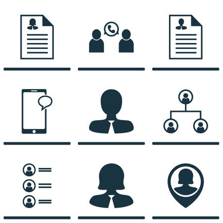 Ensemble d'icônes de ressources humaines sur l'employé Pin, gestionnaire et femmes sujets d'application. Illustration vectorielle modifiable Inclut la liste, la conférence, les icônes féminines et plus de vecteur.