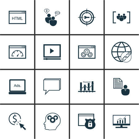 keyword: Set Of Marketing Icons On Keyword Optimisation, Security And Keyword Marketing Topics. Editable Vector Illustration. Includes Marketing, Pay, Keyword And More Vector Icons.