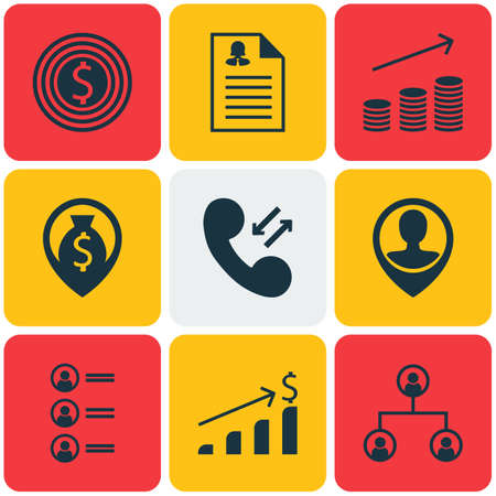 ability to speak: Set Of Management Icons On Business Goal, Employee Location And Coins Growth Topics. Editable Vector Illustration. Includes Phone, Coins, Male And More Vector Icons.
