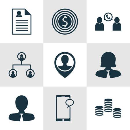 Définir des ressources humaines Icônes Le but d'affaires, de conférence et d'arbres téléphoniques Structure Sujets. Editable Vector Illustration. Comprend des employés, Organisation, Pin Et Plus icônes vectorielles.