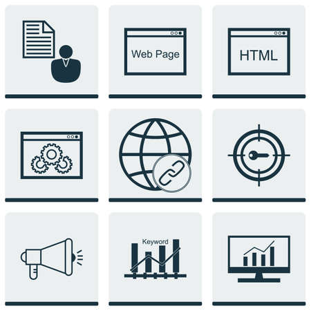 bulding: Set Of SEO Icons On Connectivity, Coding And Keyword Optimisation Topics. Editable Vector Illustration. Includes Web, Bulding, Keyword And More Vector Icons.