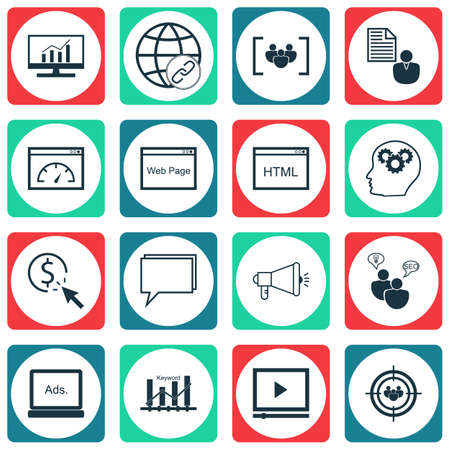 Set Of SEO Icons On PPC, Questionnaire And Coding Topics. Editable Vector Illustration. Includes Research, Community, Digital And More Vector Icons. Illustration