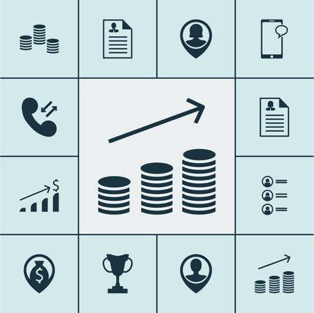Ensemble d'icônes Hr sur les données cellulaires, les sujets de messagerie et de localisation des employés. Illustration vectorielle modifiable Inclut le dollar, les pièces de monnaie, les augmentations et plusieurs icônes vectorielles.