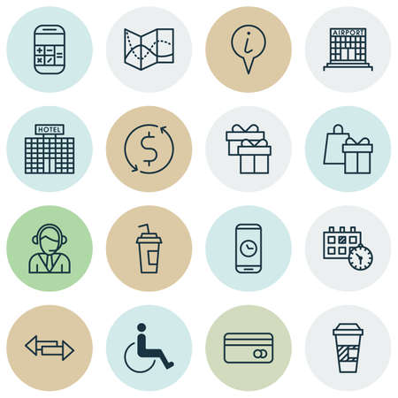 paralyzed: Set Of Airport Icons On Money Trasnfer, Calculation And Operator Topics. Editable Vector Illustration. Includes Paralyzed, Drink, Shopping And More Vector Icons. Illustration