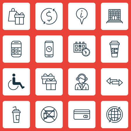 infirm: Set Of Travel Icons On Appointment, Airport Construction And Takeaway Coffee Topics. Editable Vector Illustration. Includes Cup, Paralyzed, Box And More Vector Icons.