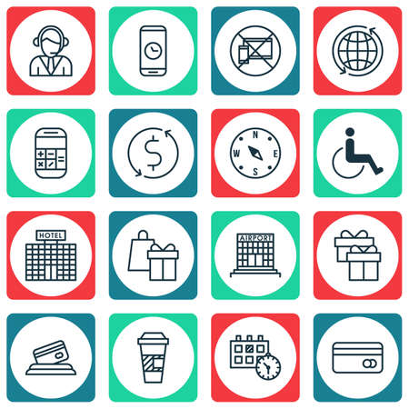 accessibility: Set Of Travel Icons On Accessibility, Plastic Card And Call Duration Topics. Editable Vector Illustration. Includes Card, Coffee, Shopping And More Vector Icons.