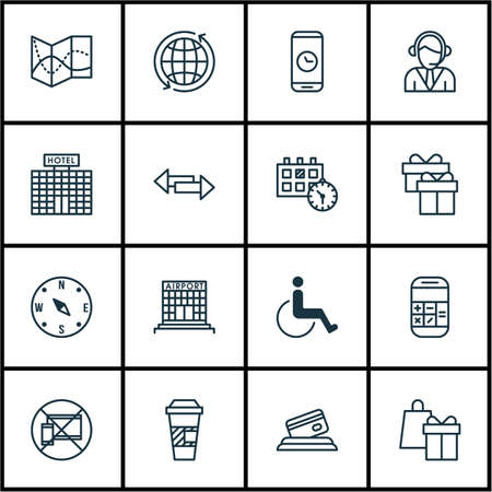 accessibility: Set Of Travel Icons On Call Duration, Locate And Accessibility Topics. Editable Vector Illustration. Includes World, Present, Calculation And More Vector Icons.