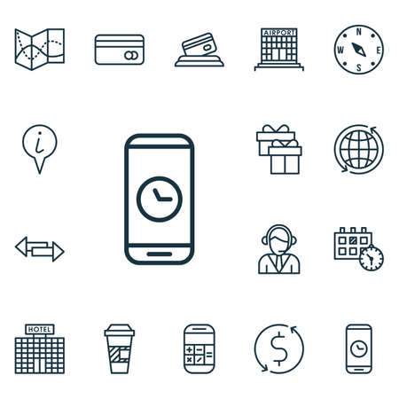 duration: Set Of Travel Icons On Call Duration, Locate And Plastic Card Topics. Editable Vector Illustration. Includes World, Airport, Date And More Vector Icons.