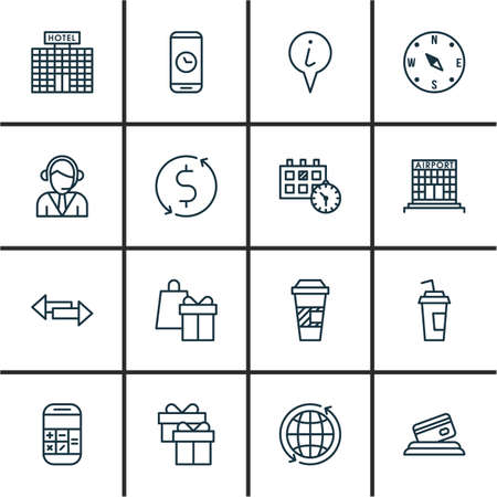 away travel: Set Of Traveling Icons On Call Duration, Shopping And Operator Topics. Editable Vector Illustration. Includes Center, Pointer, Mobile And More Vector Icons.