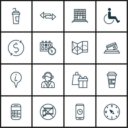 paralyzed: Set Of Transportation Icons On Crossroad, Takeaway Coffee And Forbidden Mobile Topics. Editable Vector Illustration. Includes Paralyzed, Operator, Calculator And More Vector Icons. Illustration