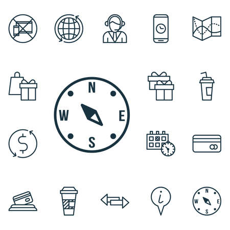 Set Of Transportation Icons On Shopping, Forbidden Mobile And World Topics. Editable Vector Illustration. Includes Pointer, Holiday, World And More Vector Icons.