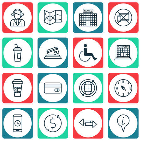 paralyzed: Set Of Transportation Icons On Credit Card, World And Hotel Construction Topics. Editable Vector Illustration. Includes Call, Paralyzed, Coffee And More Vector Icons.