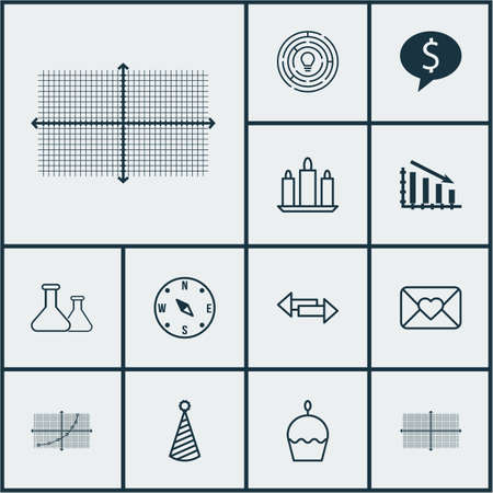 Set Of 12 Universal Editable Icons. Can Be Used For Web, Mobile And App Design. Includes Icons Such As Fail Graph, Innovation, Birthday Cake And More.