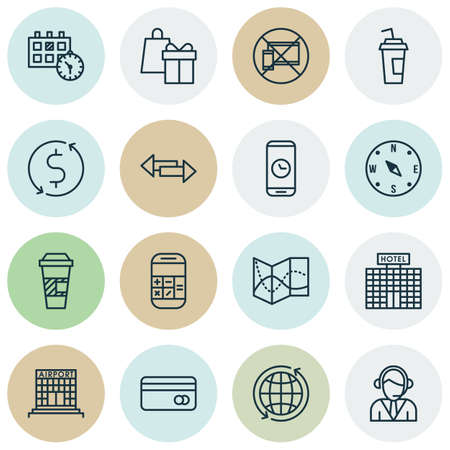 transact: Set Of Airport Icons On Shopping, World And Plastic Card Topics. Editable Vector Illustration. Includes Card, Building, Phone And More Vector Icons.